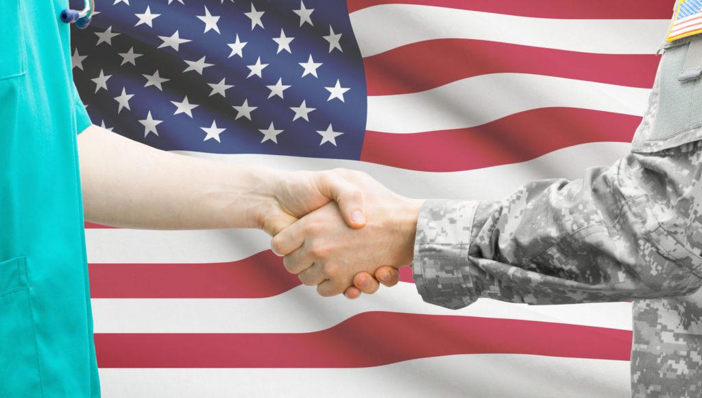 Handshake american flag